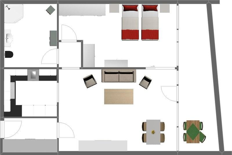 Grundriss 2 Zimmerwohnung mit Beispieleinrichtungen