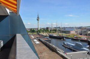 Blick Richtung Fischereihafen und Radarturm